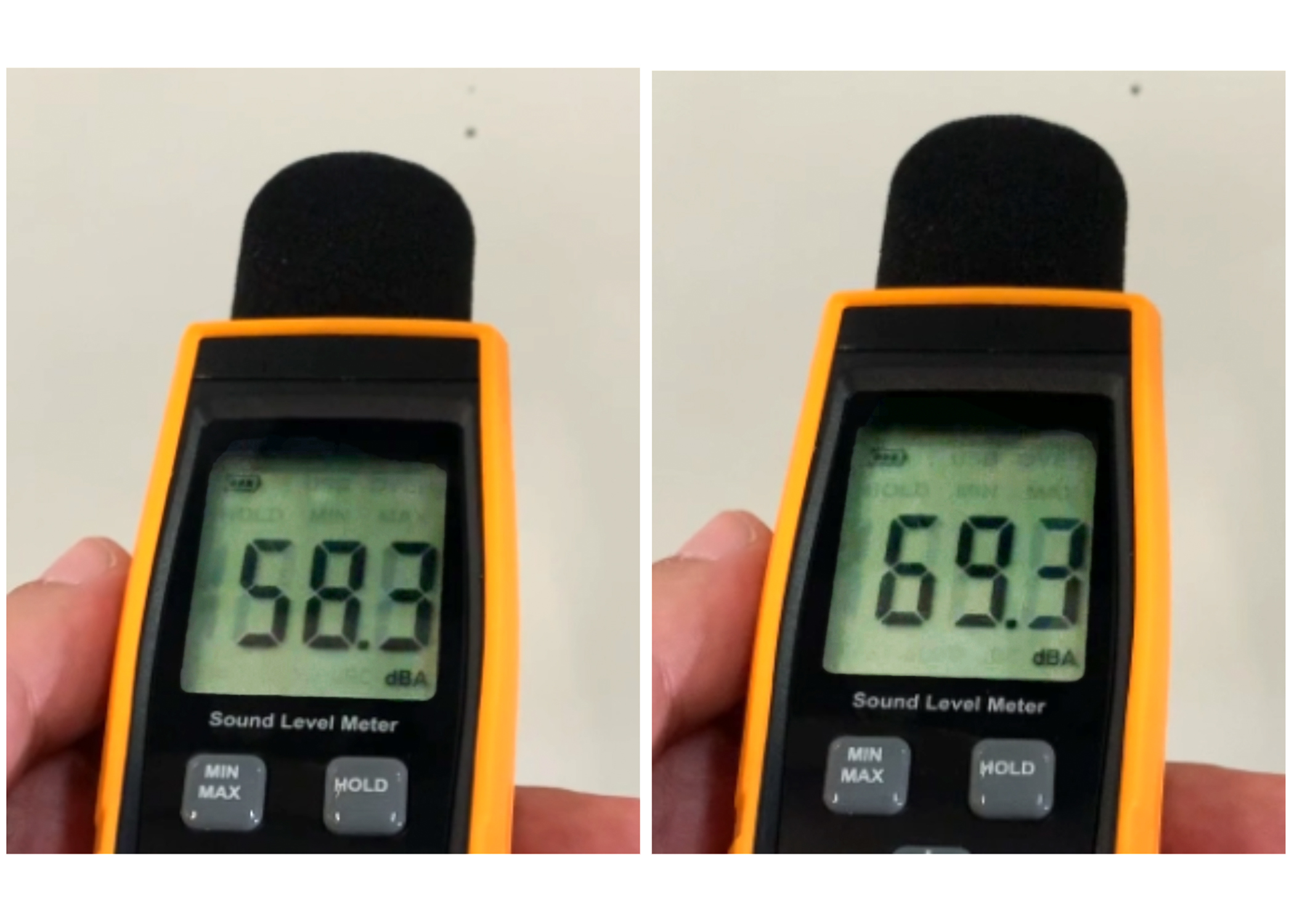 Two Decibel Meters Displaying Sound Levels of Zeiss HFA 860